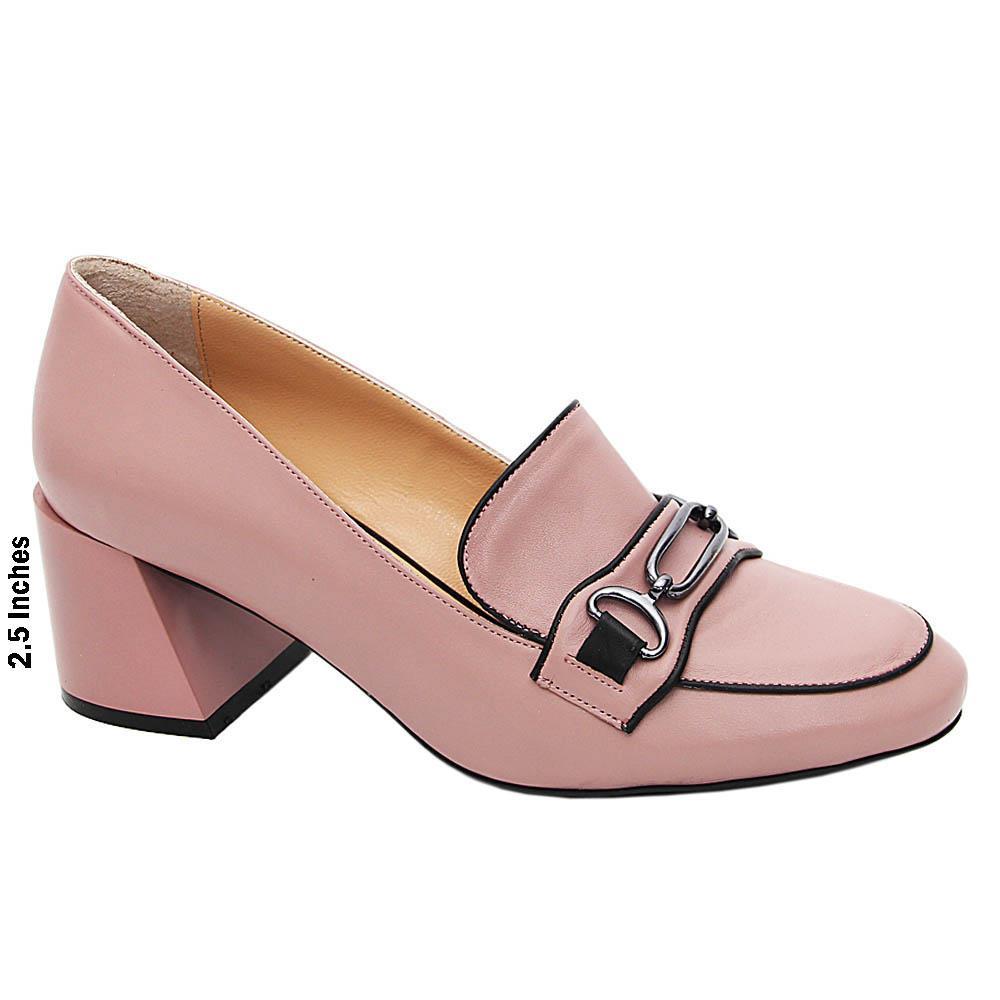 Pink Mariella Italian Leather Mid Heel Pumps