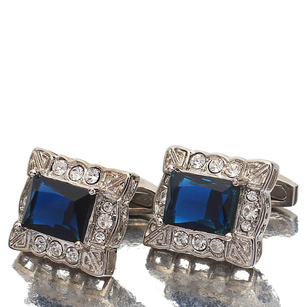 Silver Deep Blue Diamond Ice Stainless Steel Cufflinks