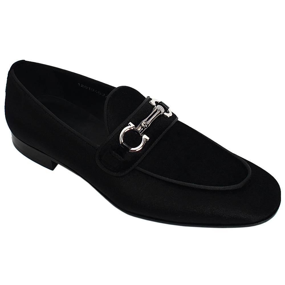 Black Agosto Velour Italian Leather Men Horsebit Loafers