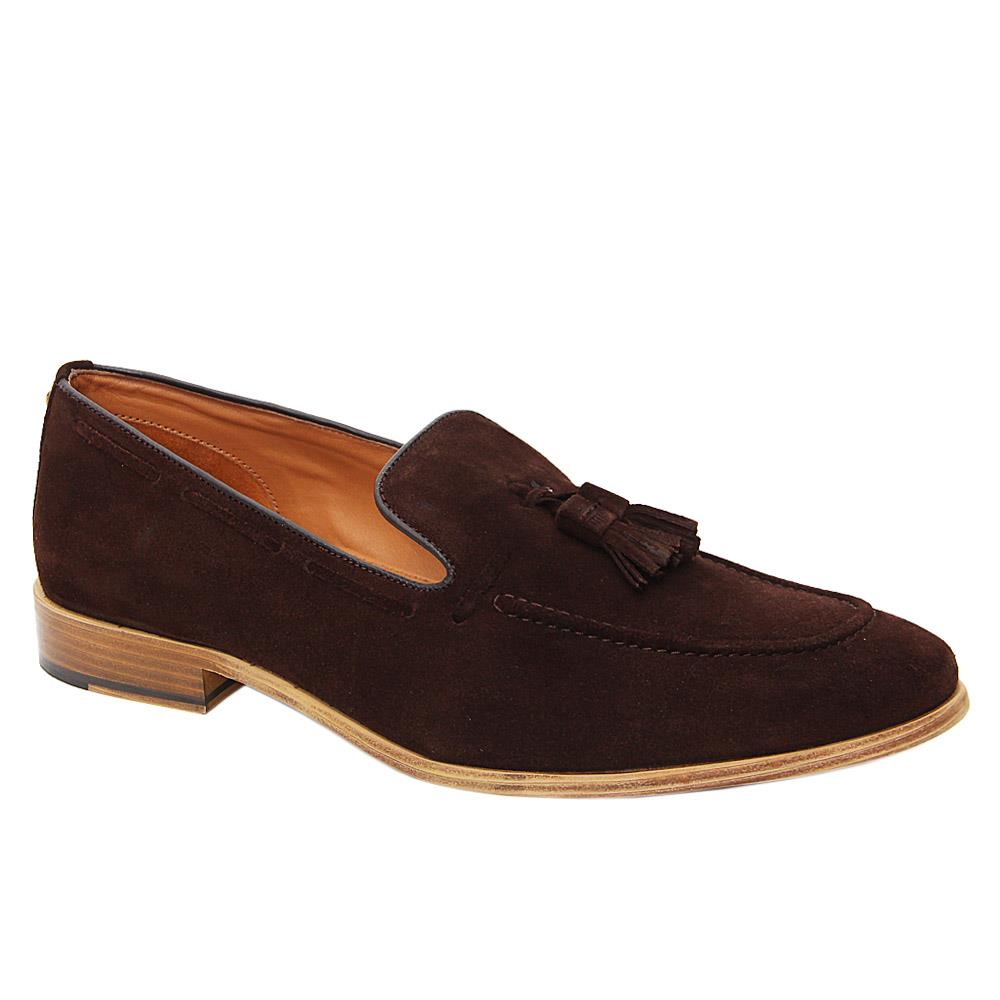 K Geiger Coffee Maurice Suede Leather Tassel Loafers