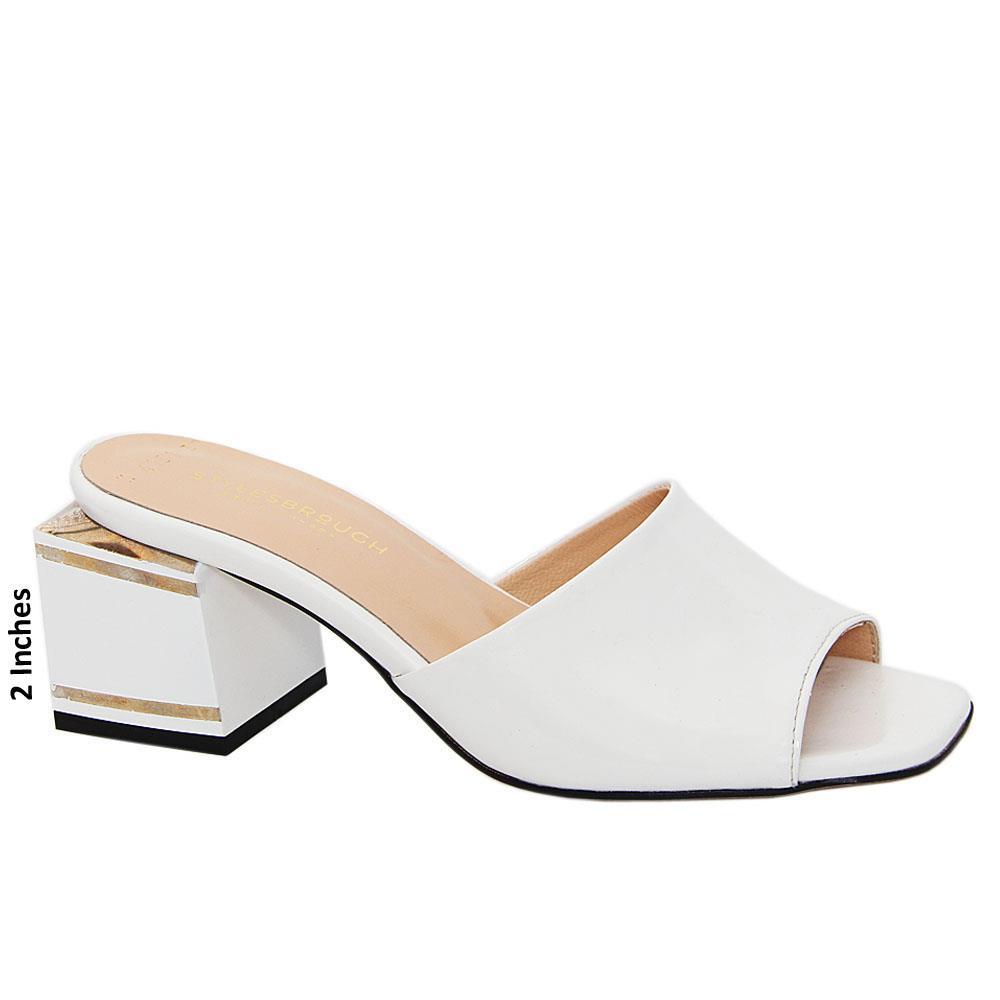White Simona Patent Italian Leather Mid Heel Mule