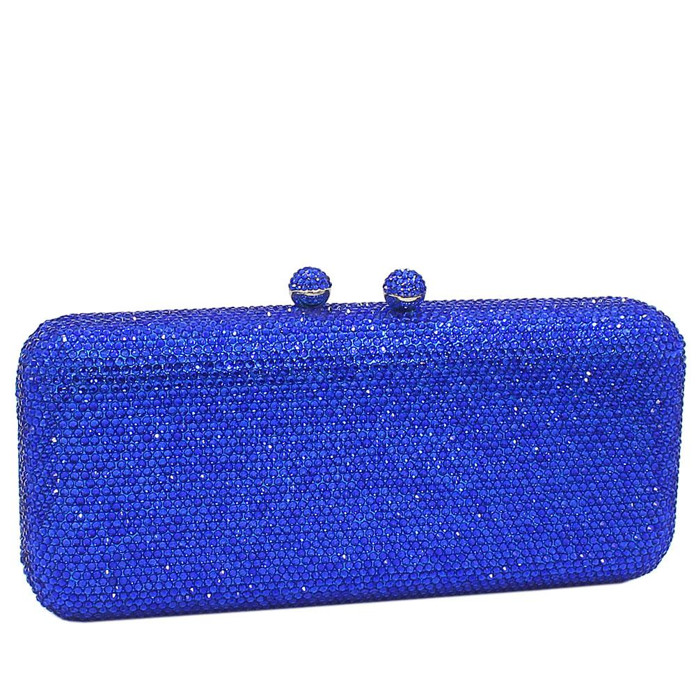 Blue Crystals Studded Clutch Purse