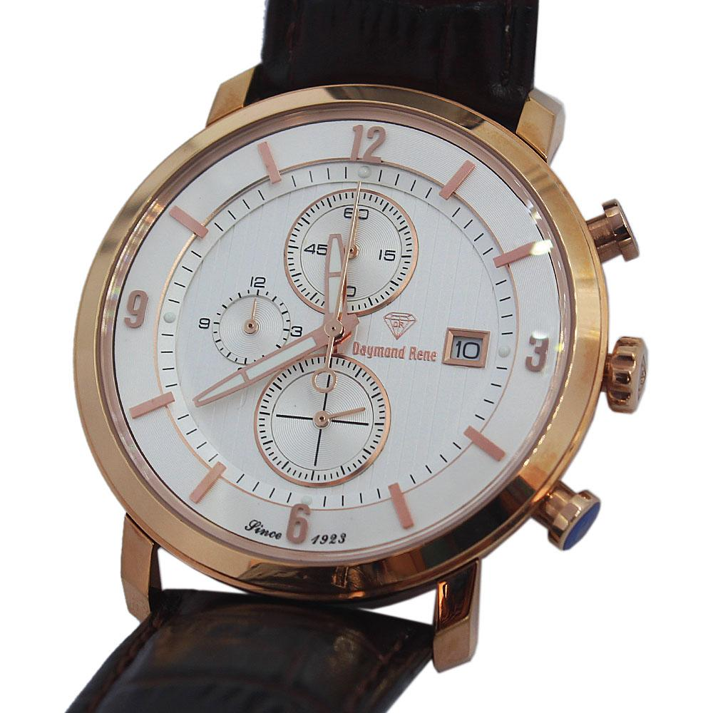 DR 5ATM Rose Gold Coffee Leather Chronograph Watch