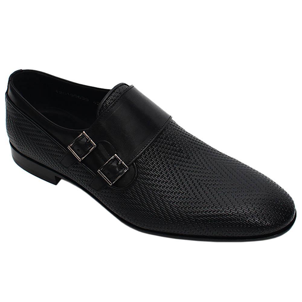 Black Sergio Italian Leather Men Monk Strap Shoe