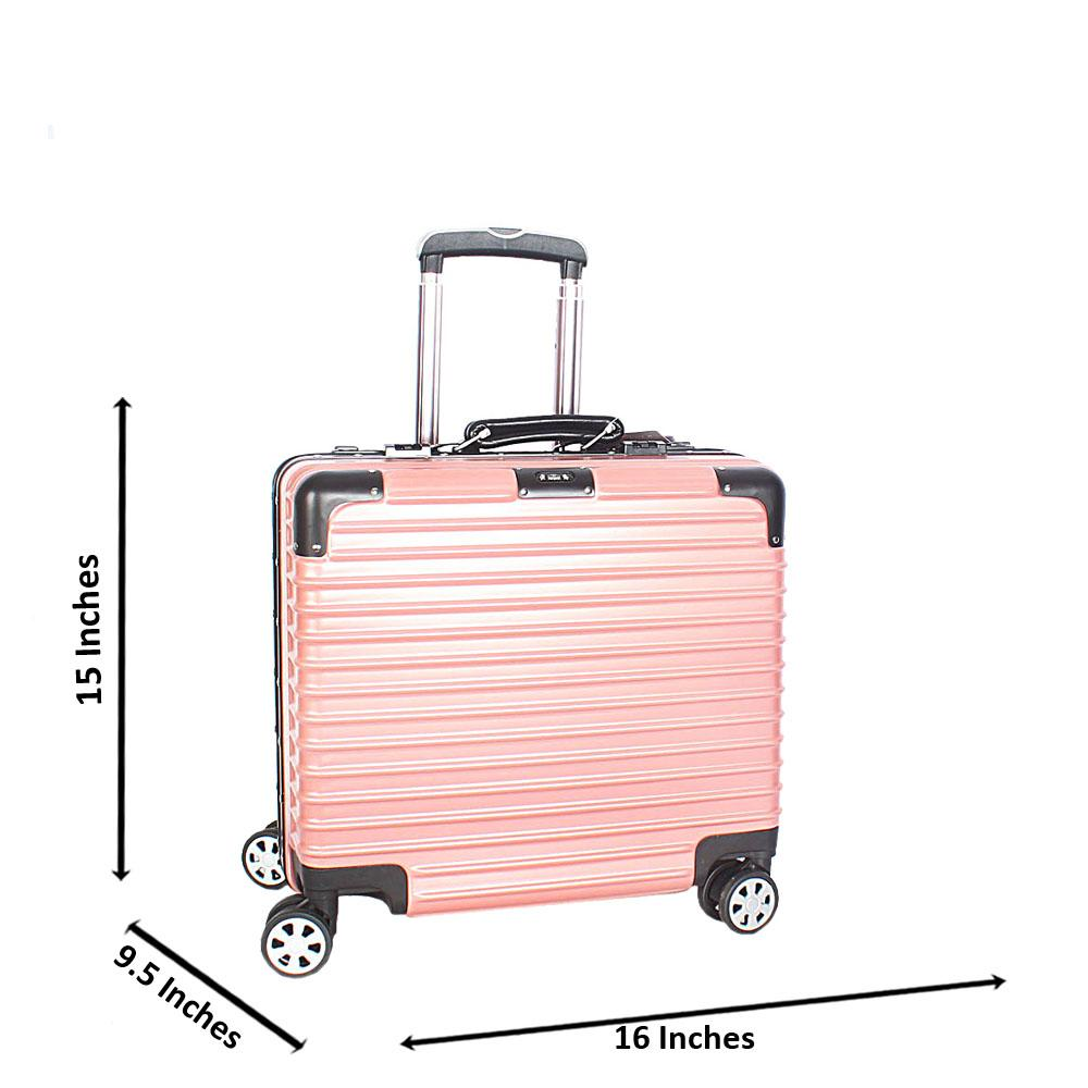 Peach 14 Inch Hard Shell 4 Wheels Spinners Pilot Suitcase