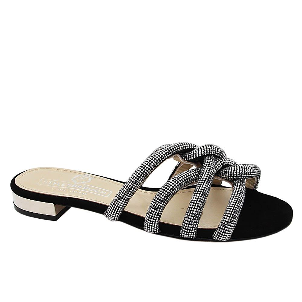 Black Silver Crystal Studded Italian Leather Flat Slippers