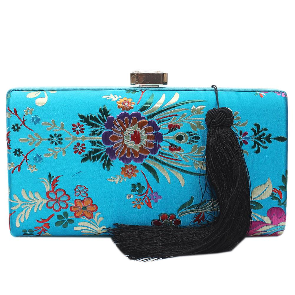 Blue Floral Fabric Clutch Purse