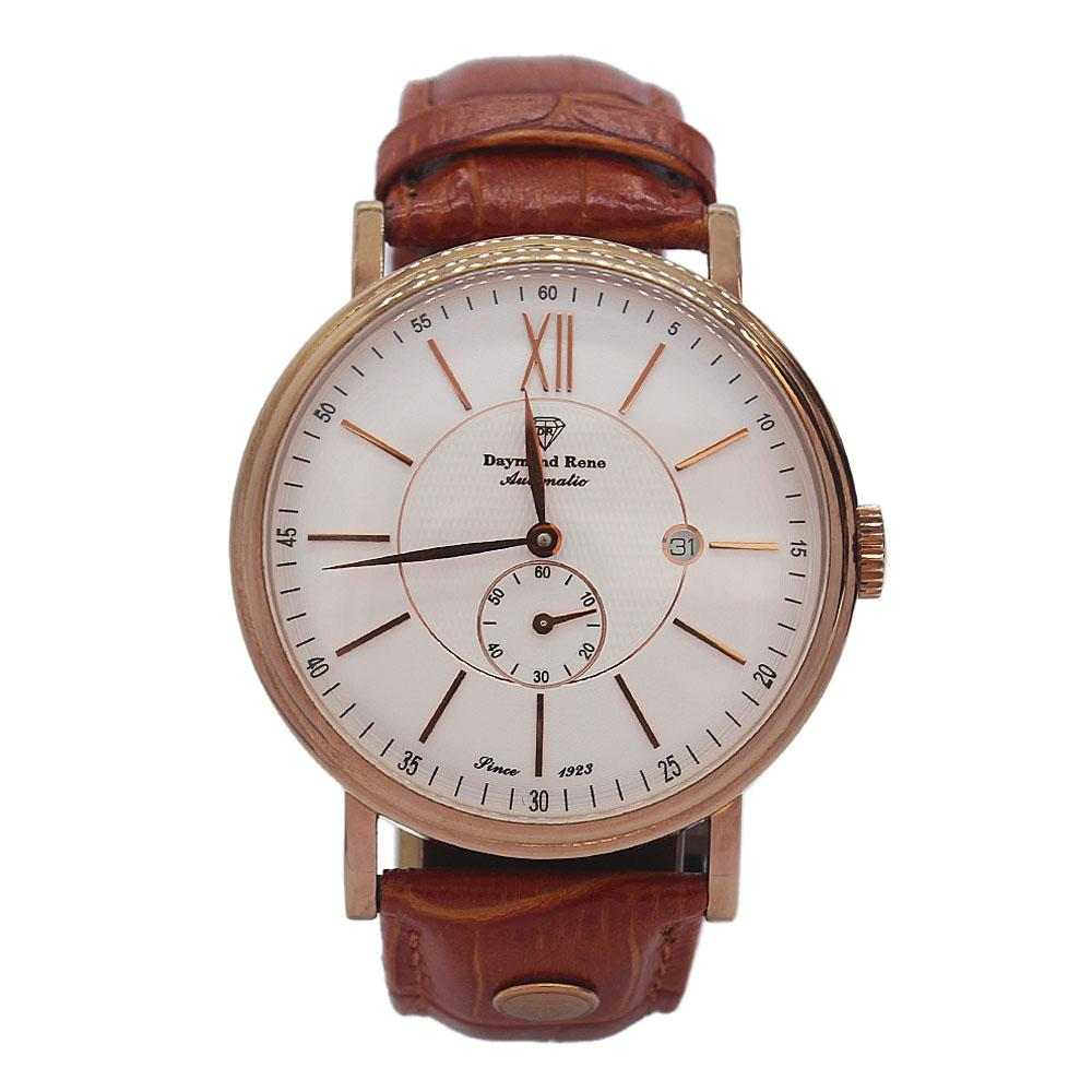 DR 3ATM Gold Brown Leather Automatic Watch