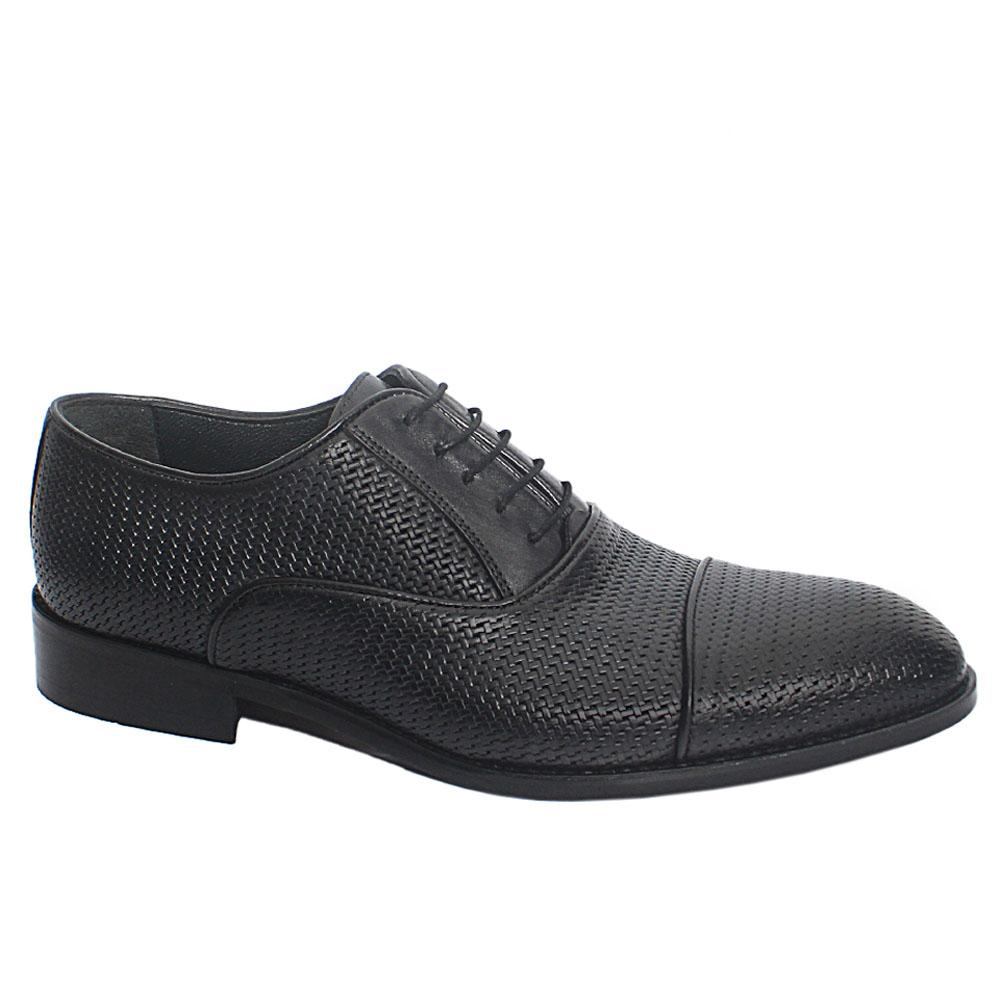 Dark Gray Harper Woven Style Leather Men Oxford Shoes