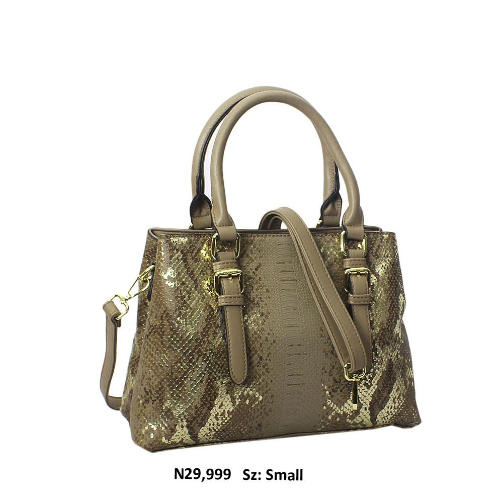Khaki Gold Paola Snakeskin Style Leather Tote Handbag