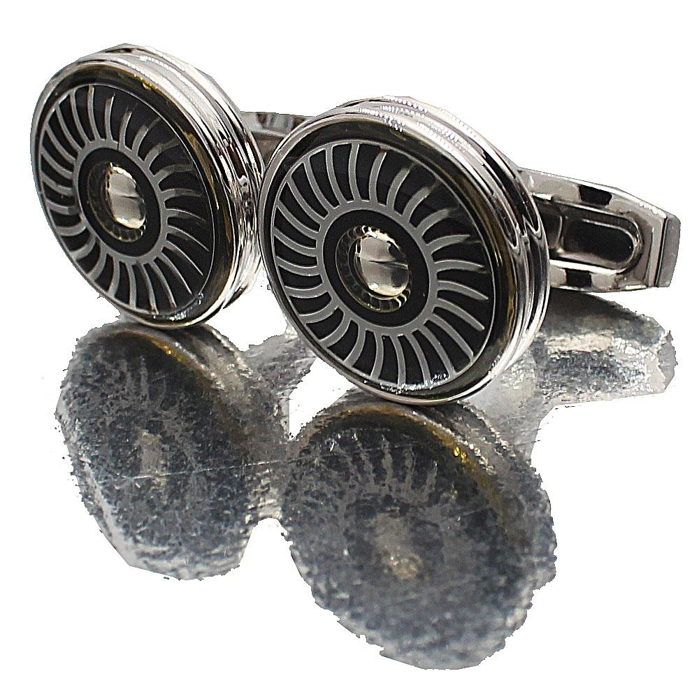 Silver Wheel Stainless Steel Cufflinks