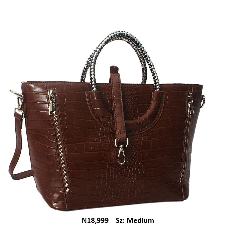 Coffee Megan Croc Leather Woven Handle Tote Handbag