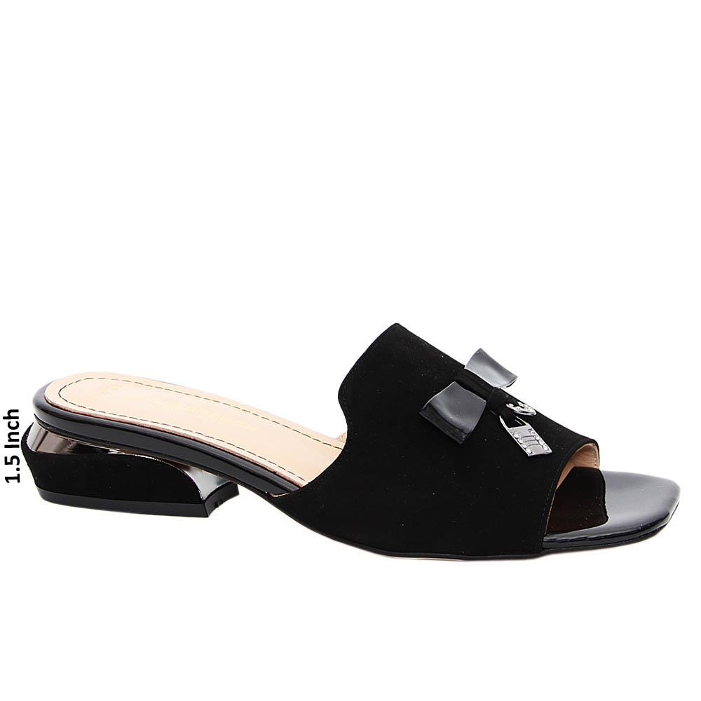 Black Paula Suede Tuscany Leather Low Heel Mule