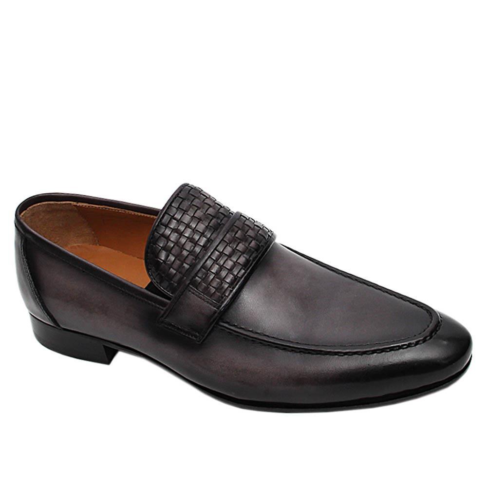 Grey Carlo Italian Leather Loafers