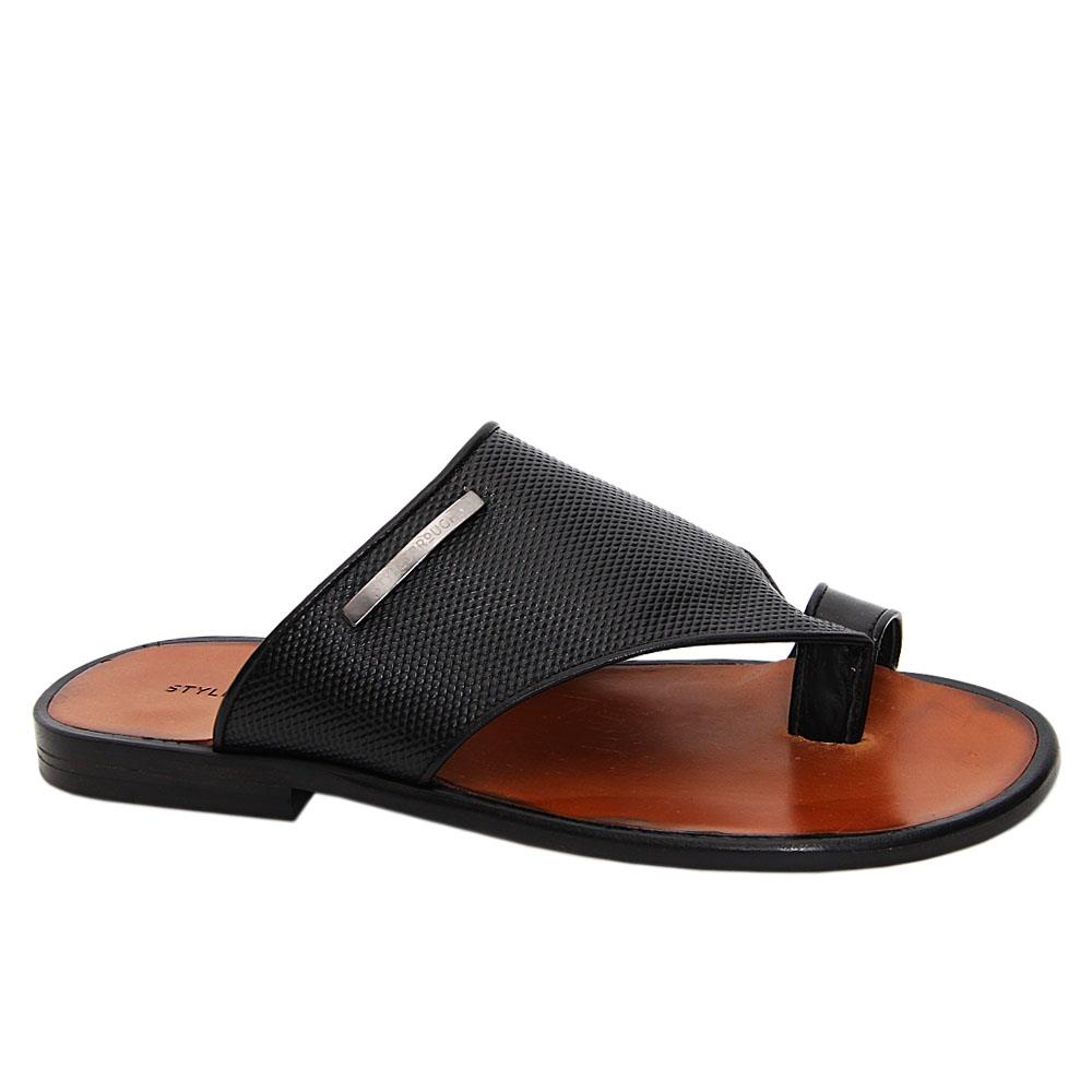 Black Salvador Italian Leather Toe Loop Slippers
