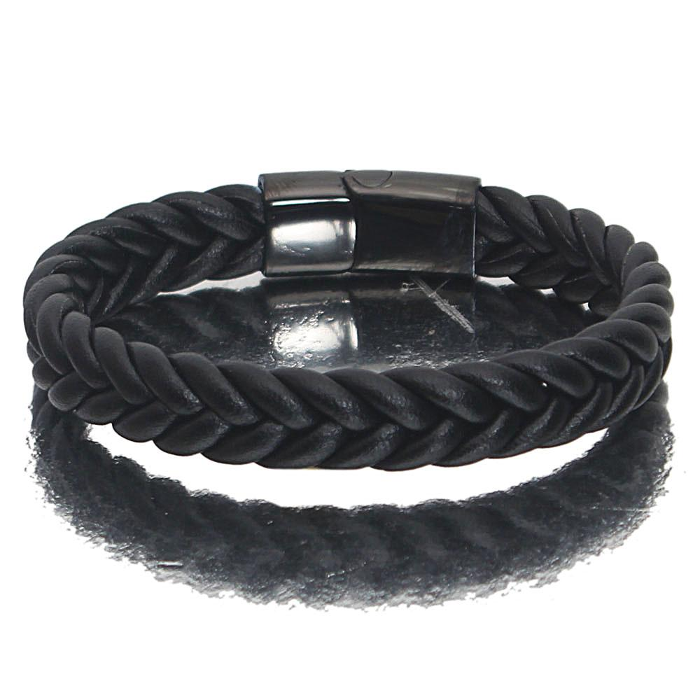 Black Plane Leather Bracelet