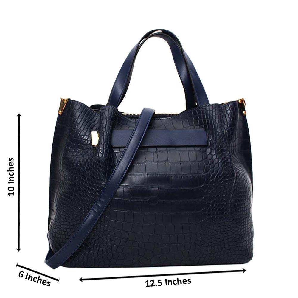 Navy Amelle Croc Leather Medium Tote Handbag
