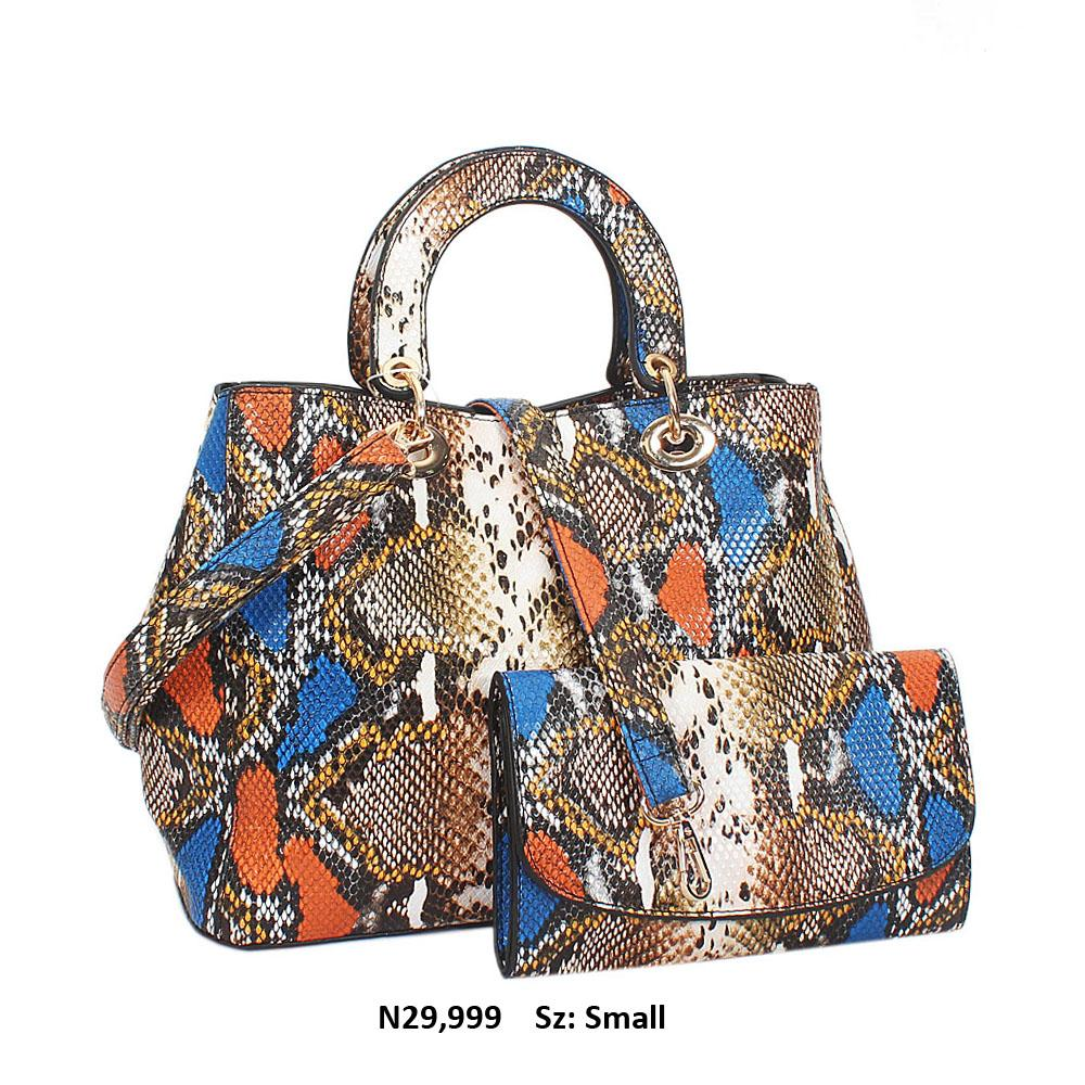 Gold Multicolor Snake Leather Small Tote Handbag
