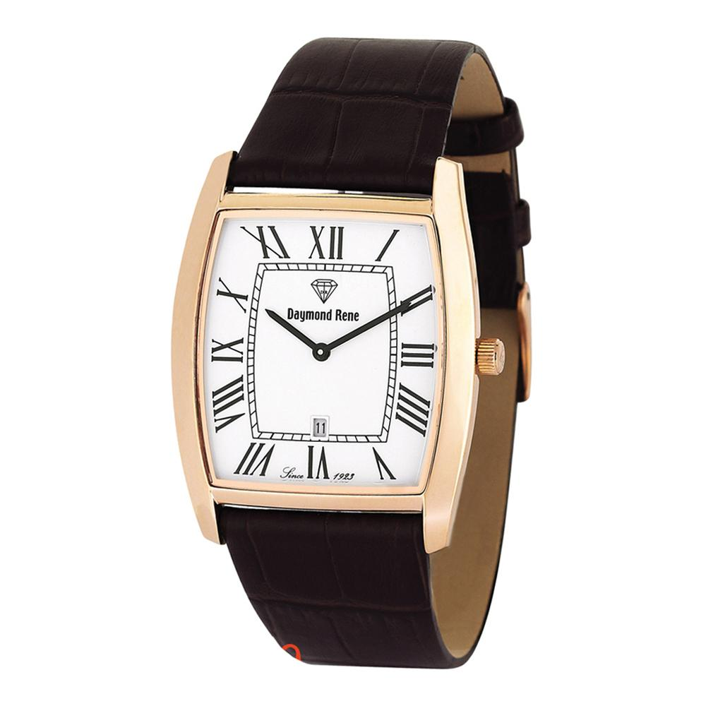 Coffee Rose Gold Leather Flat Watch