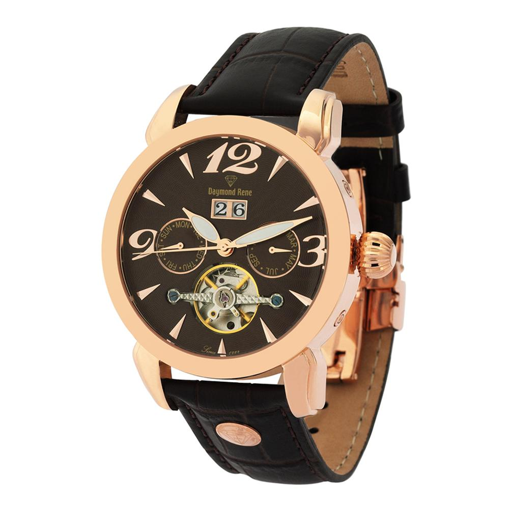 DR 10ATM Coffee Rose Gold Leather Automatic Watch