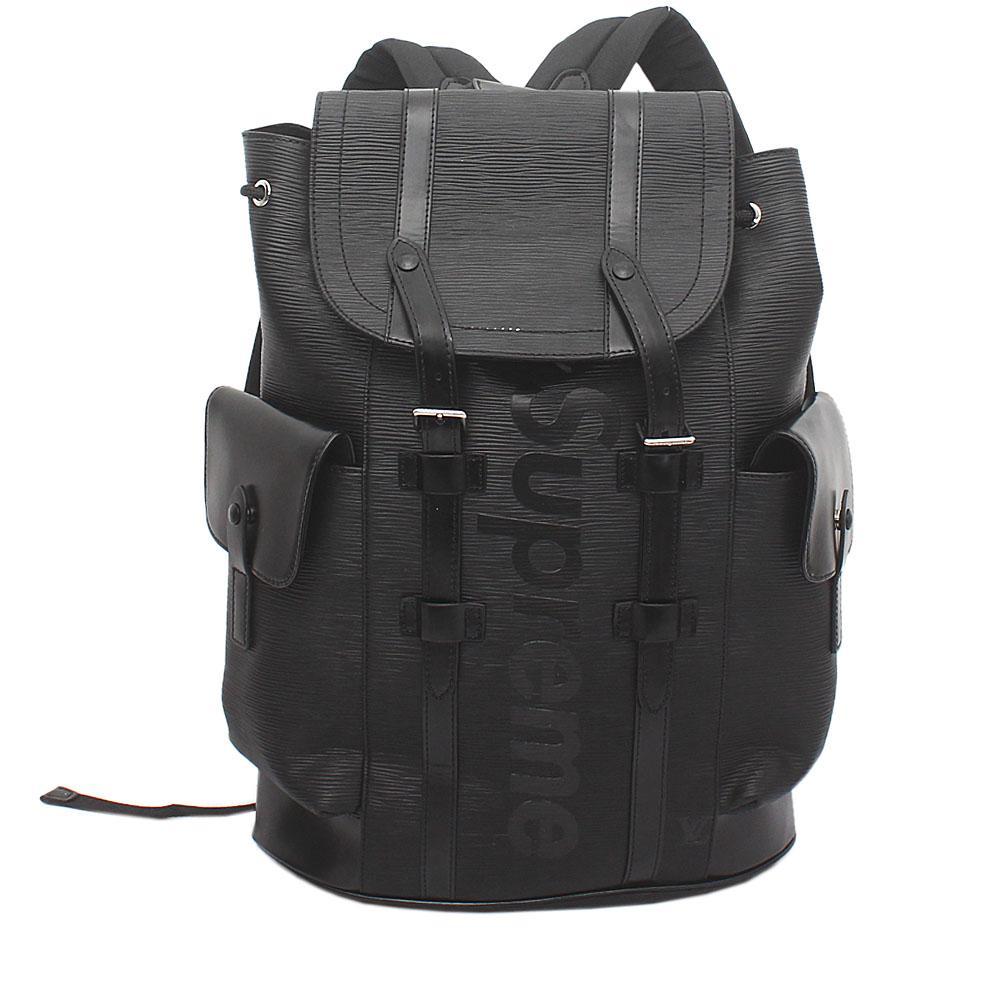 558e1d921a4 Buy Louis-Vuitton-Black-Saffiano-Leather-Soft-GG-Supreme-Back-Pack ...