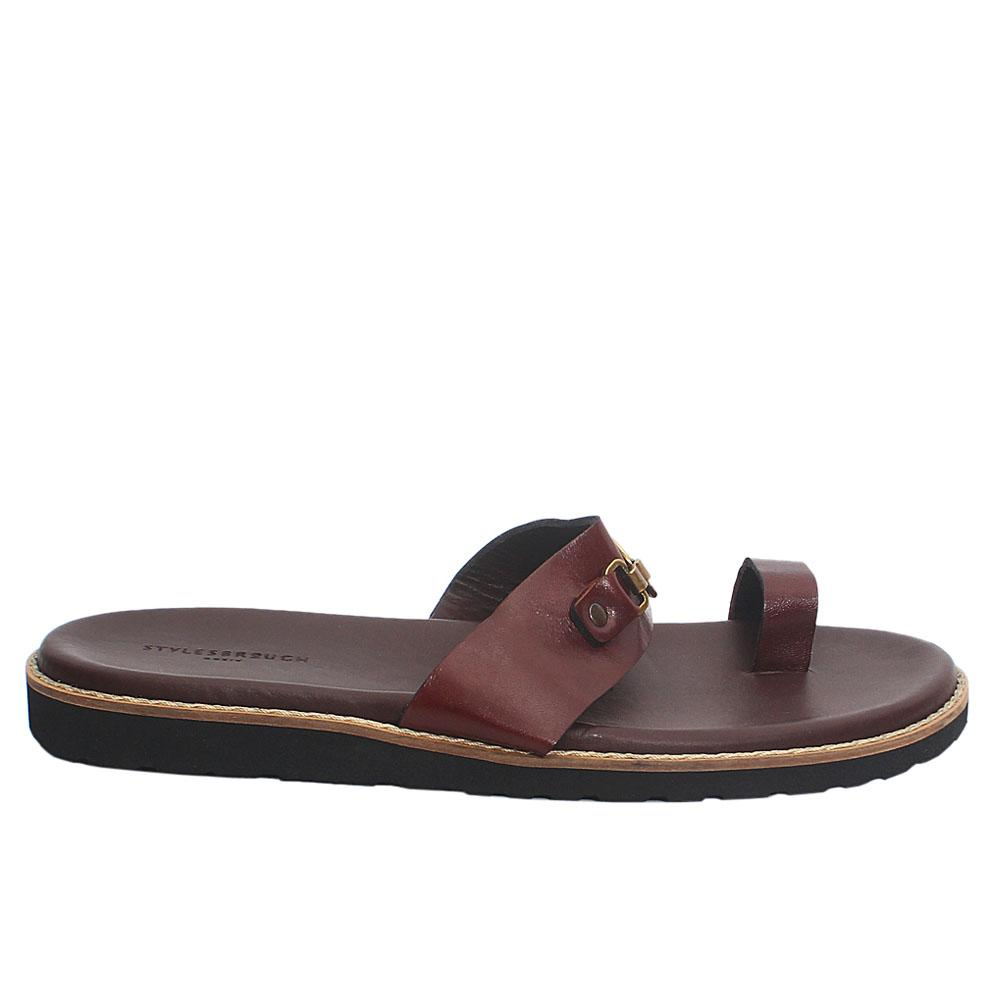 Brown Spiro Bee Italian Leather Men Slippers