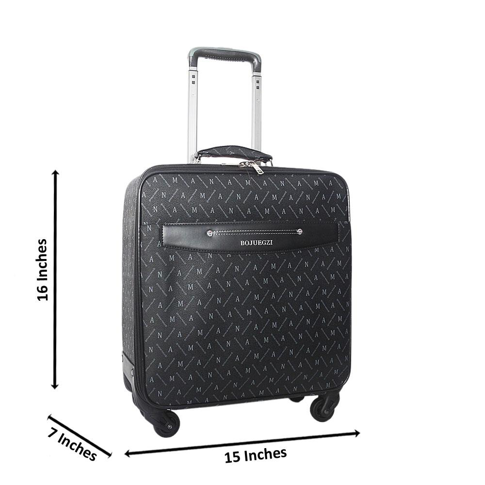 Black Gray 16 Inch Leather Pilot Suitcase Wt Lock