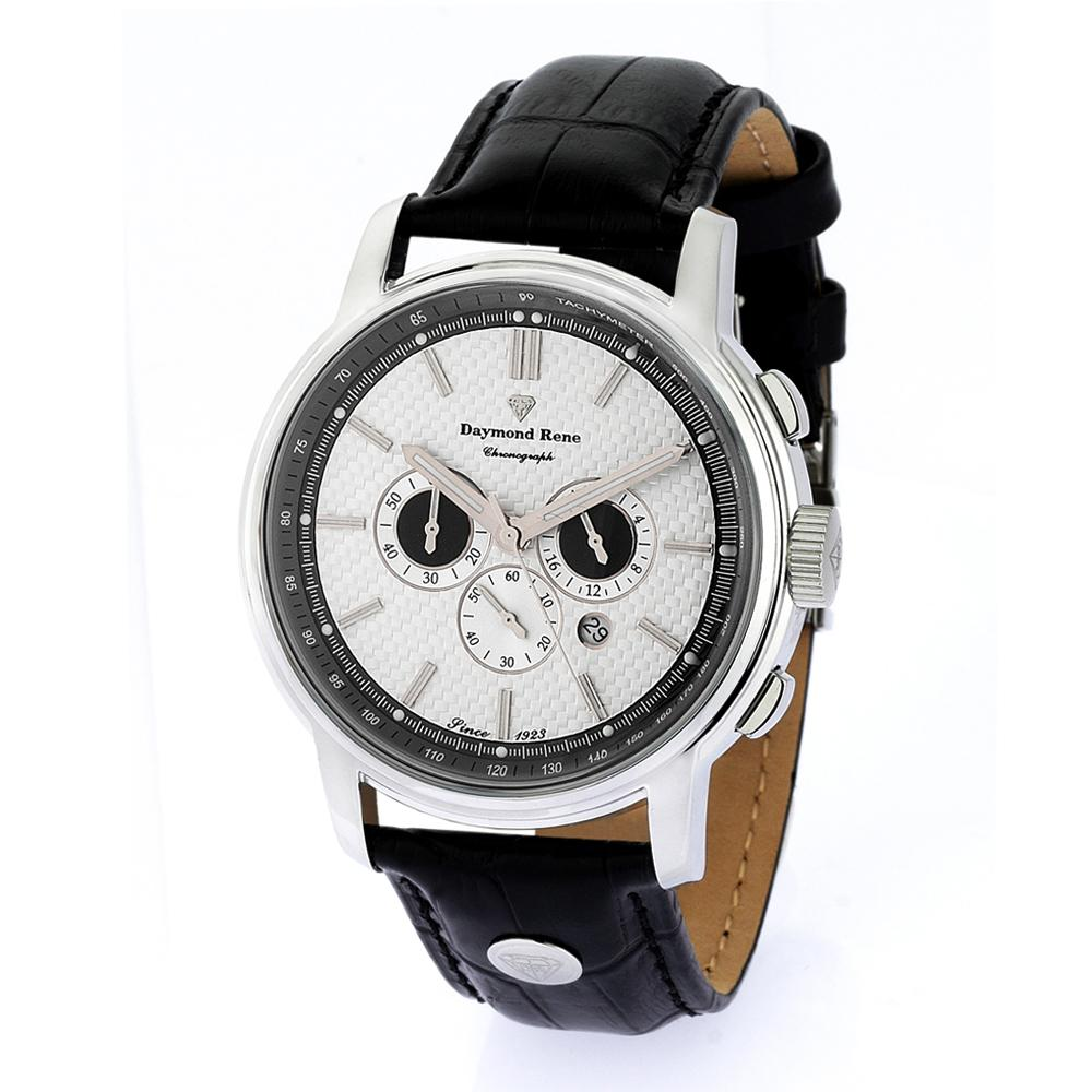 DR 3ATM Black Silver Leather Chronograph Watch