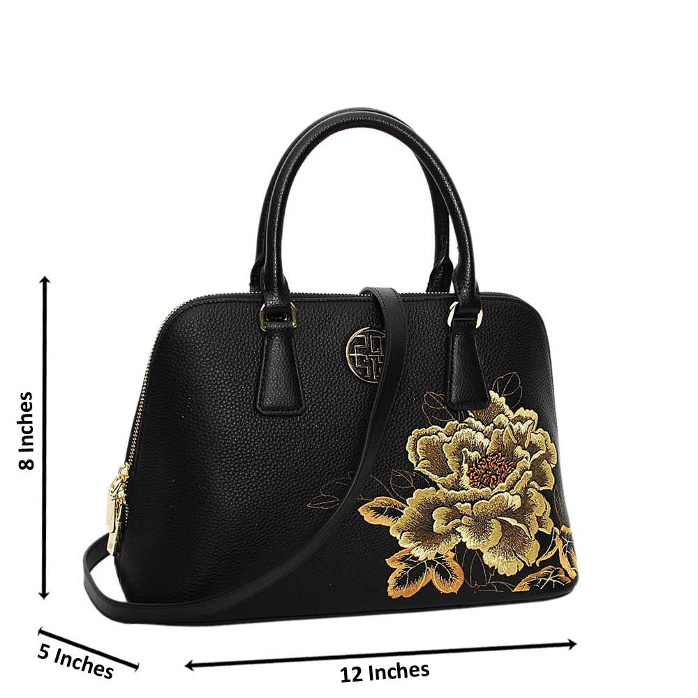 Black Golden Floral Aurora Premium Leather Medium Handbag