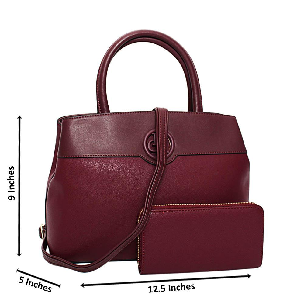 Burgundy Esmeralda Leather Medium Tote Handbag