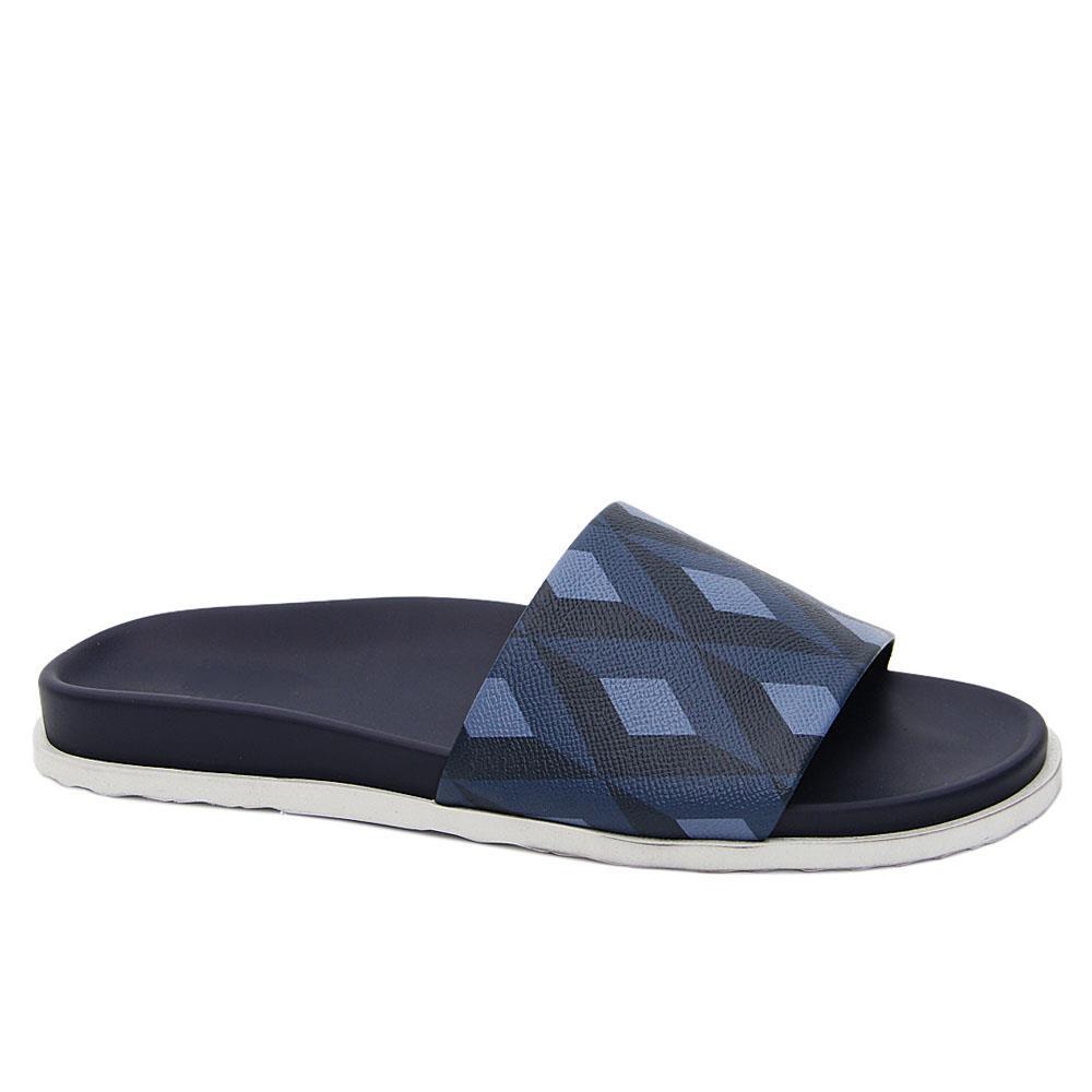 Navy Bryant Leather Slide Slippers