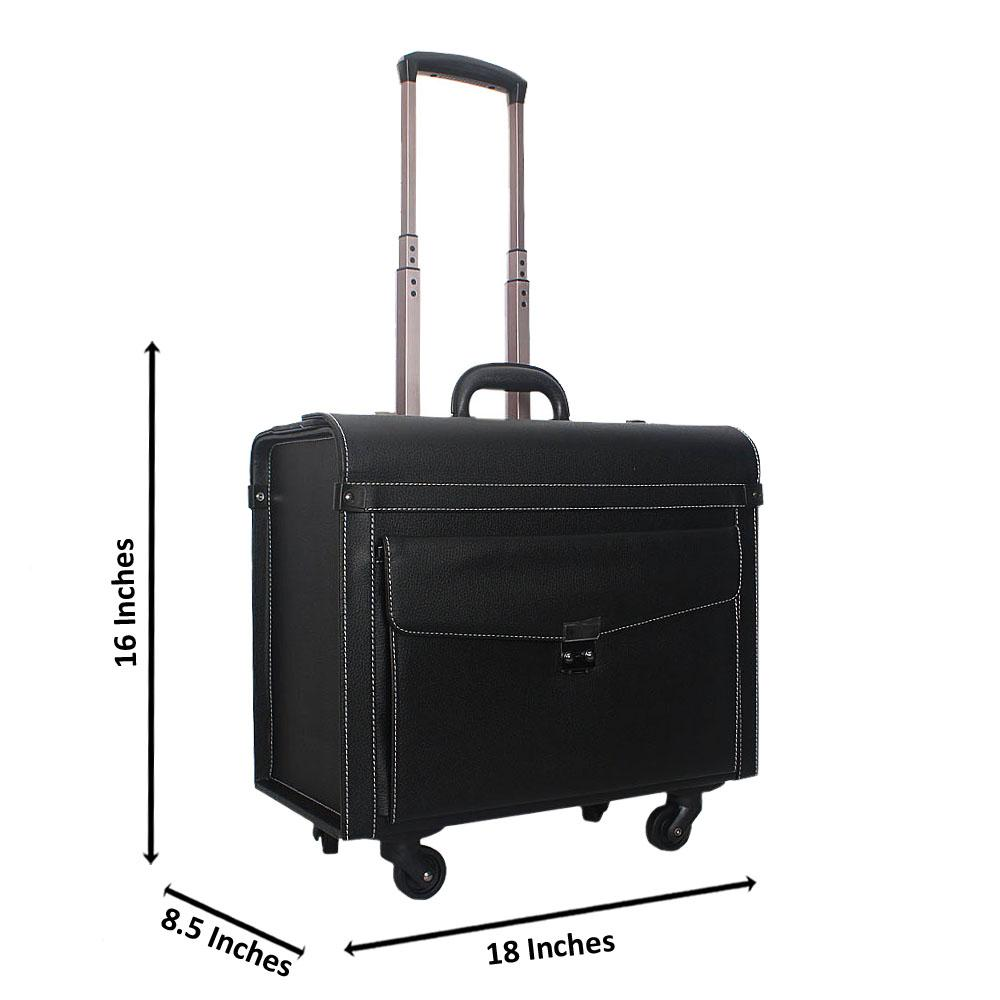 Black Smooth 16 Inch Leather 4 Wheels Spinners Pilot Suitcase Wt Combinatio