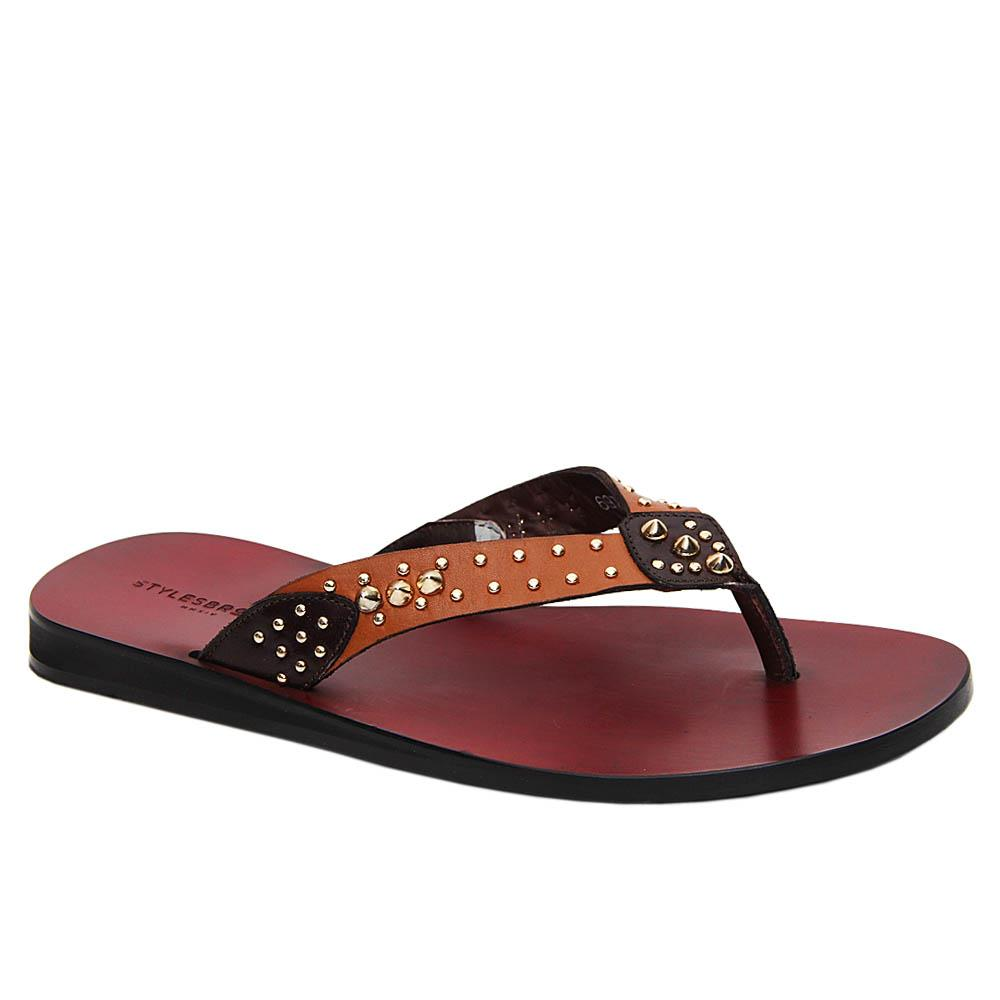 Brown Chicharito Studded Italian Leather Slippers