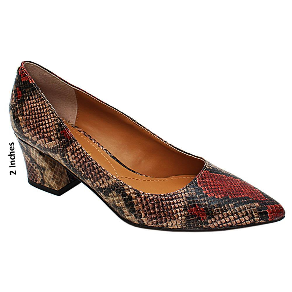 Brown Mix Isabella Snake Styled Leather Mid Heel Pumps