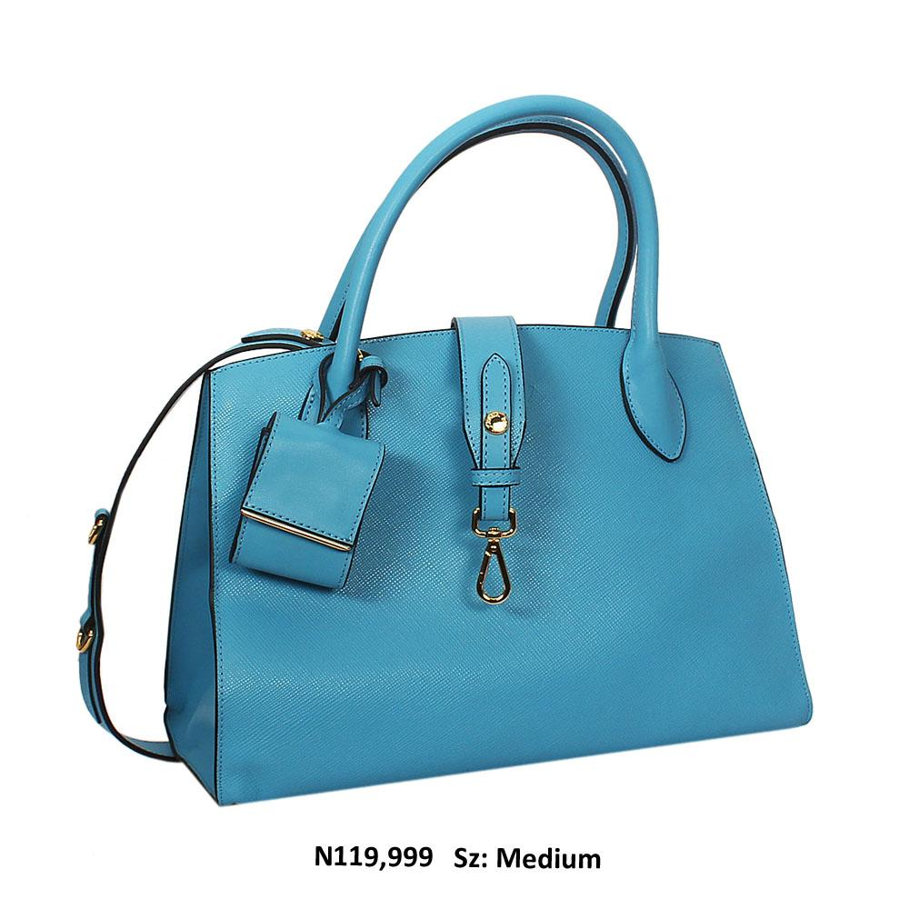 Luna Daisy Premium Blue Saffiano Leather Tote Handbag