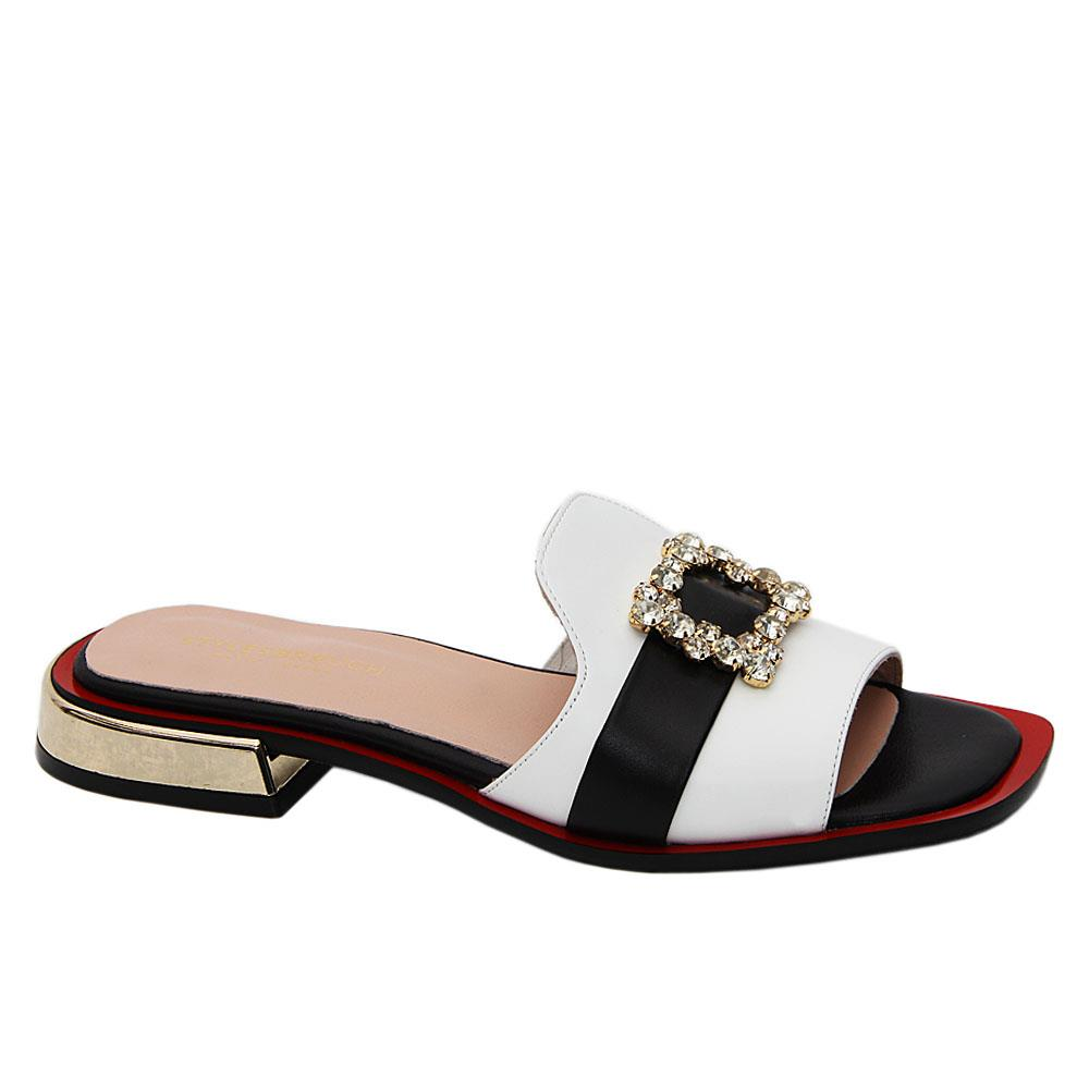 White Natalia Tuscany Leather Low Heel Slippers
