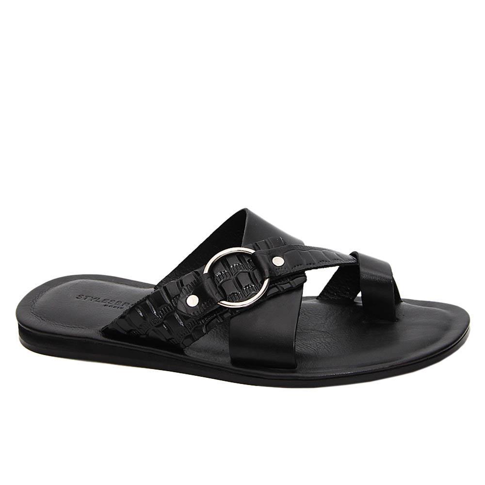 Black Franco Crossover Italian Leather Slippers
