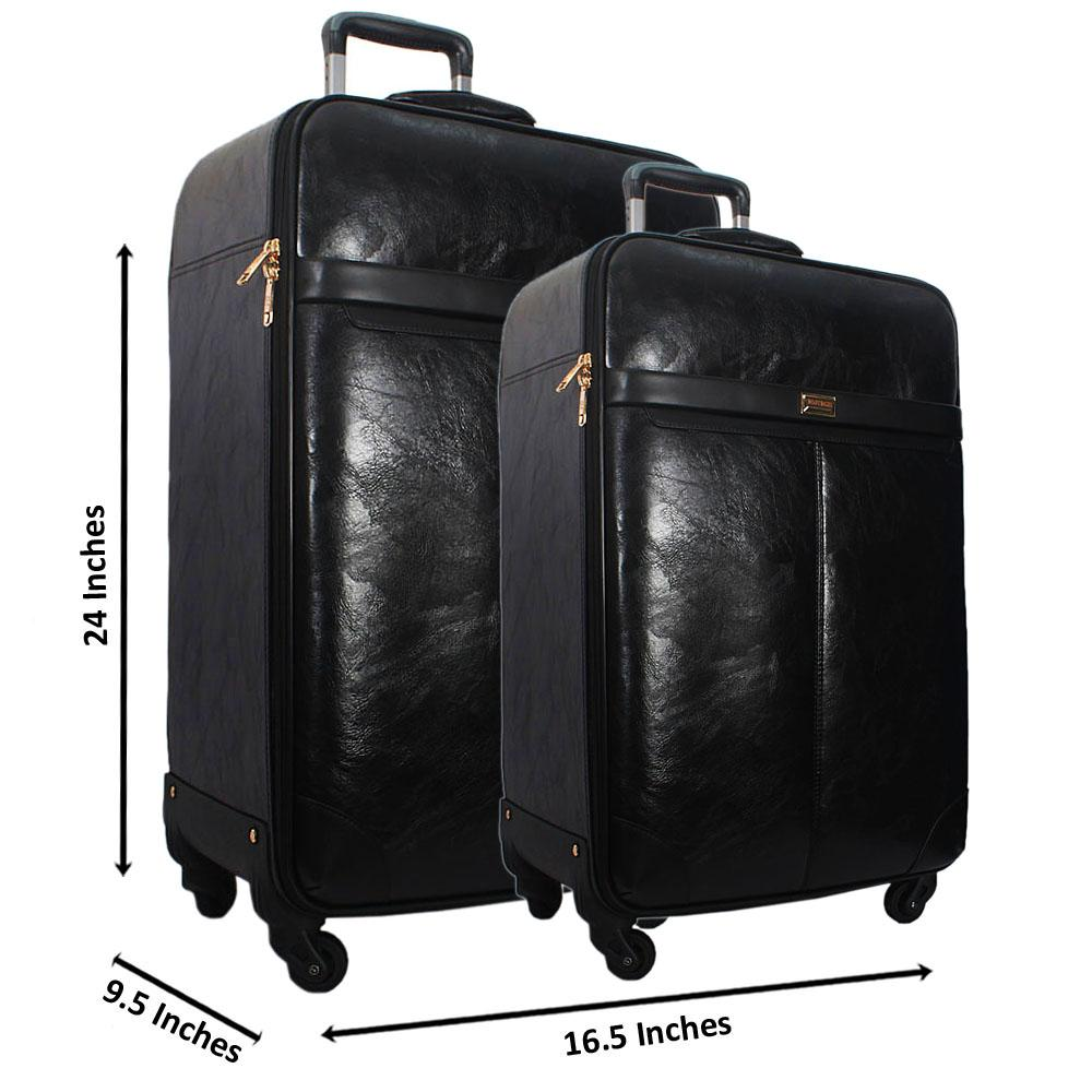 Black 24 Inch Wt 20 Inch 2 in 1 Smooth Leather Luggage Set