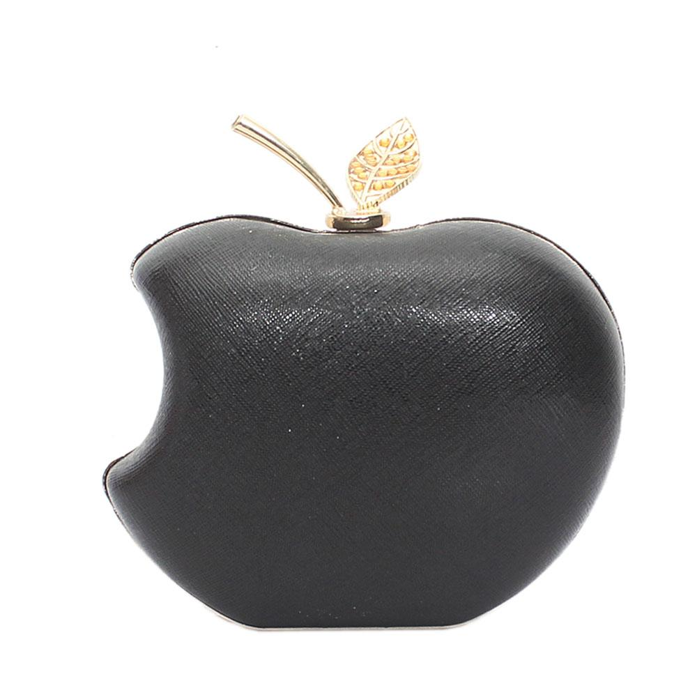 Black Apple Style Hard Clutch Purse