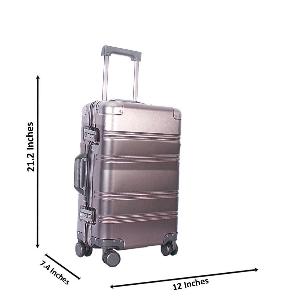 Grey 21 Inch Aluminium Carry On Luggage Wt TSALock