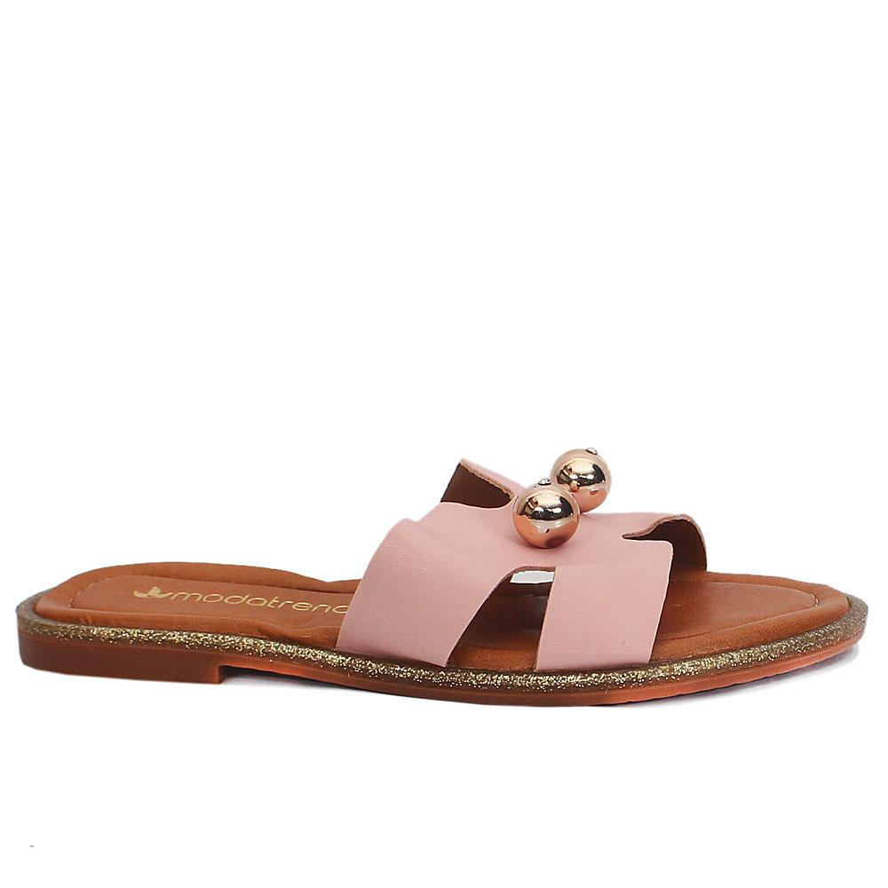 Pink Leather Flat Slippers