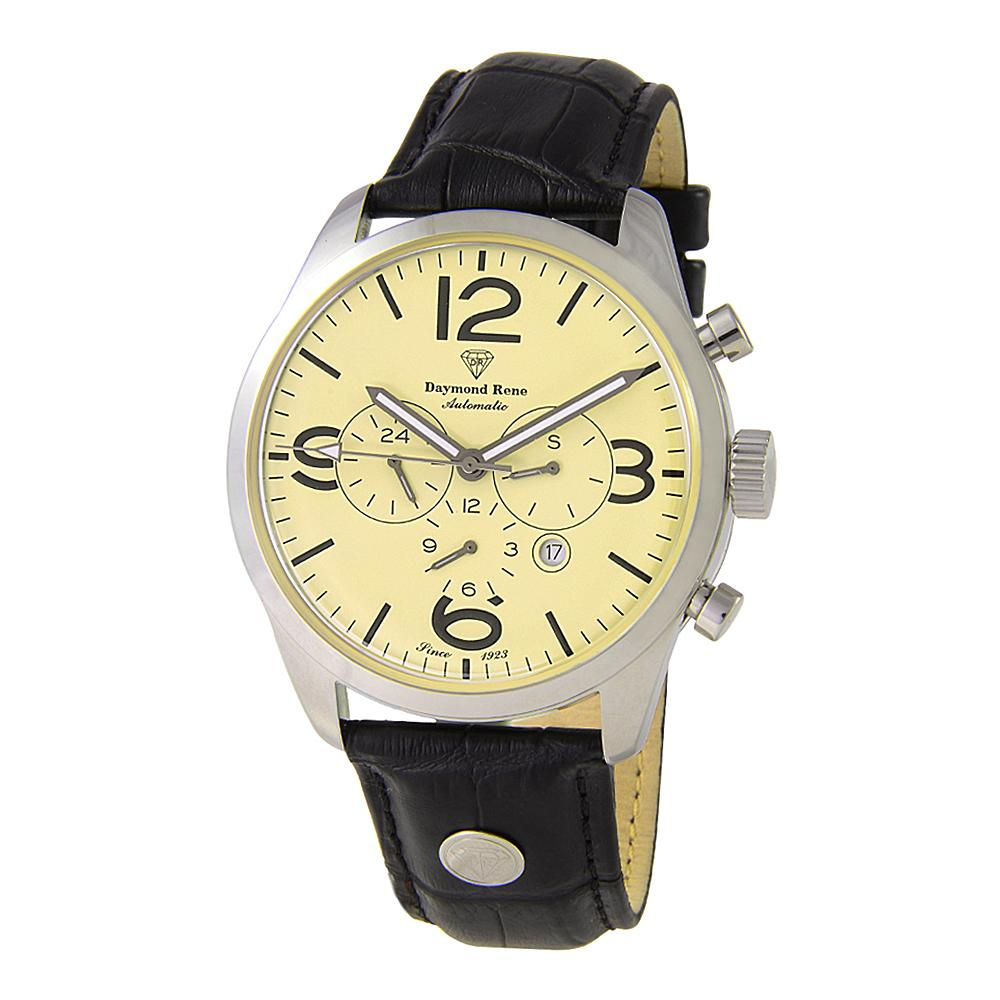 DR 3ATM Silver Black White Face Leather Automatic Watch