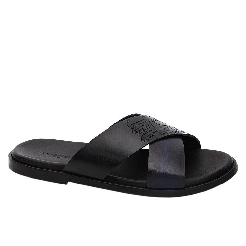 Black Julio Caesar Crossover Italian Leather Slippers