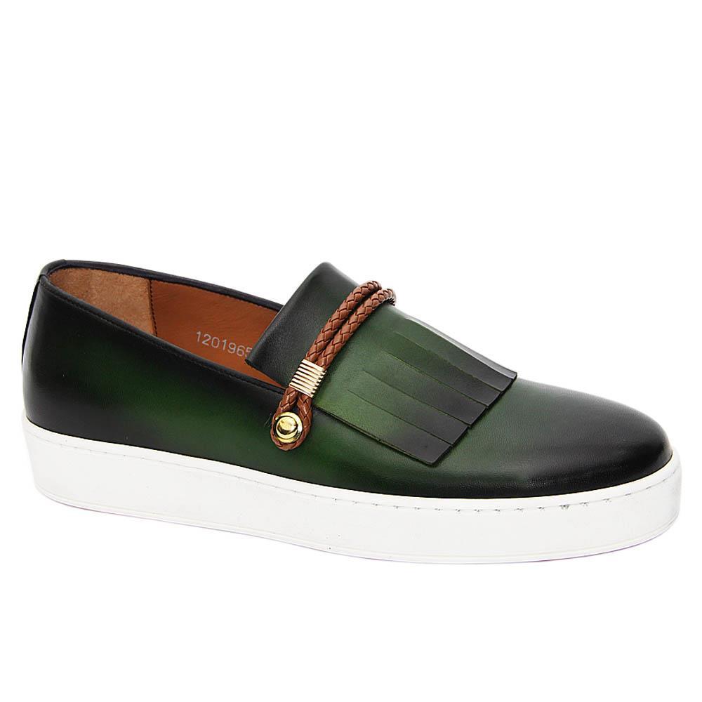 Green Raymond Italian Leather Fringe Slip-On Sneakers