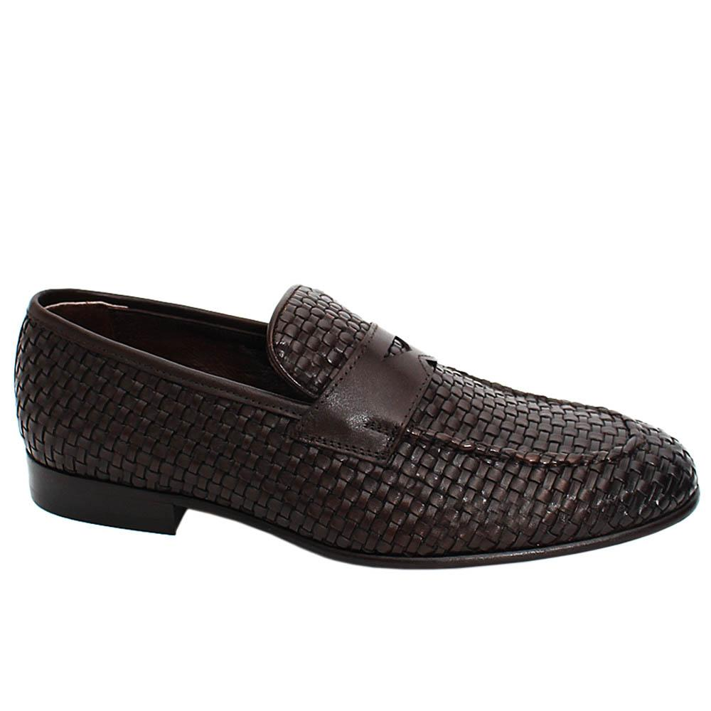 Coffee Alfred Hand-Woven Leather Men Penny Loafers