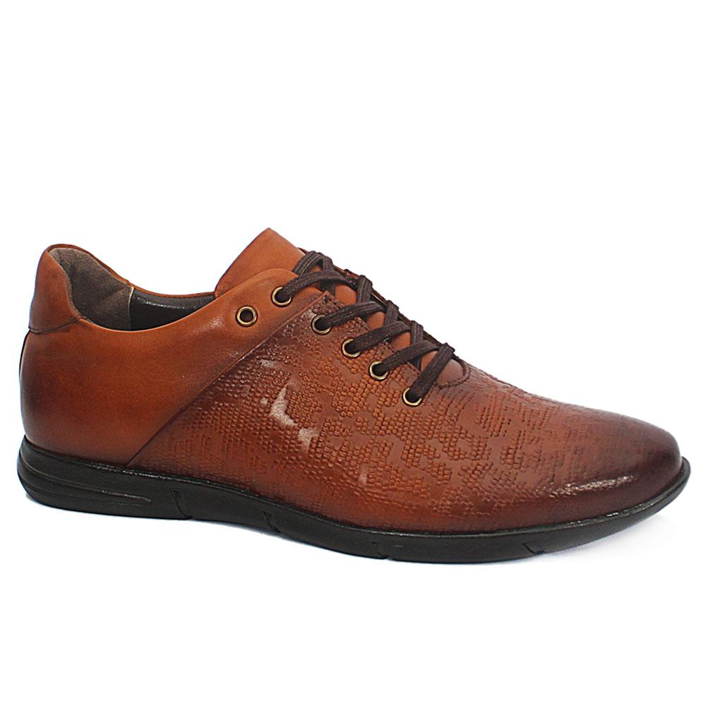 Andrea Caramel Brown Embossed Leather Sneakers