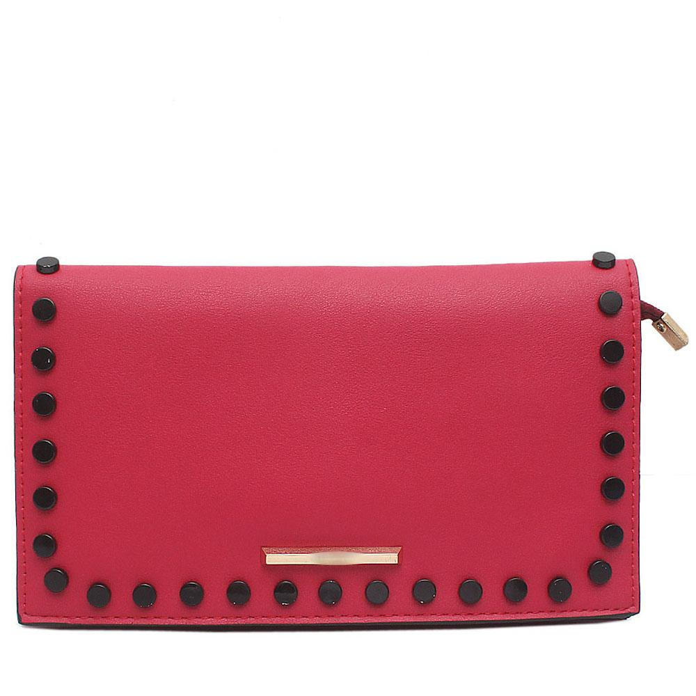 Marron Studded Leather Flat Clutch