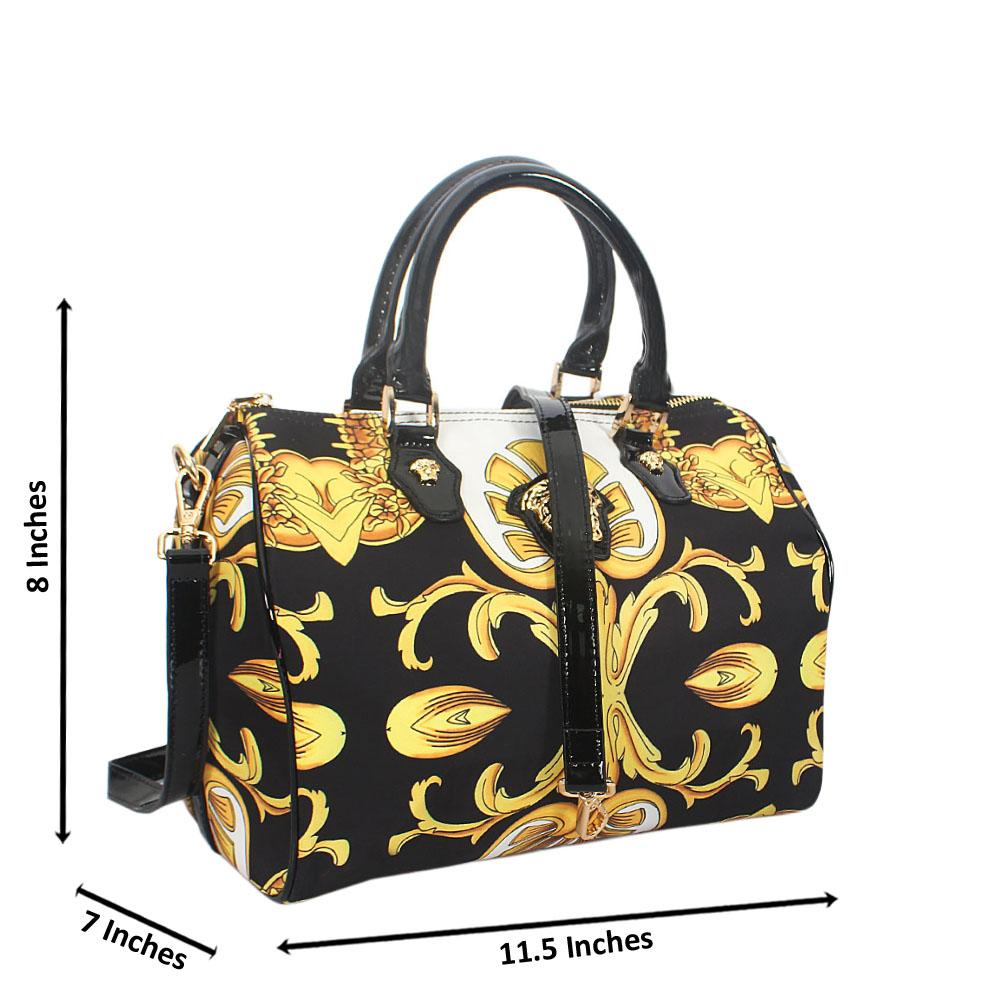 Anne Black Yellow Fabric Boston Handbag