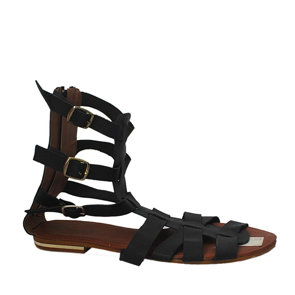 Black Brown Continental Gladiator Flat Sandals
