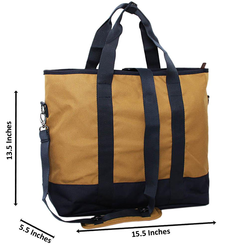 Navy Carton Brown Fabric Tote Man Bag